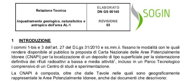 Deposito nucleare, la relazione tecnica sul sito di Bosco Marengo